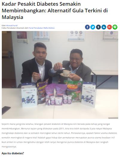 Hello Doktor: Kadar Pesakit Diabetes Semakin Membimbangkan: Alternatif Gula Terkini Di Malaysia